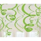 Piekaramās spirālveida folijas dekorācijas, 12 gab, kivi zaļš, 55,8 cm