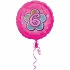 Rozā folijas balons ar ciparu  6 43 cm ar hēliju
