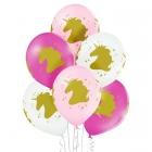 """""""Vienradzis"""" 12""""/30 cm lateksa baloni 6 gab. Pastelis: 002 Balts, 004 Gaiši Rozā, 010 Koši Rozā. Druka: 1 Krāsa(s) / 4 Puses"""