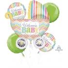 """5 balonu komplekts bērna piedzimšanai """"Welcome Baby"""" – 1 balons x 76 cm. un 4 baloni x 45 cm, baloni piepūšami ar hēliju"""