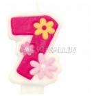 "8cm svece tortei, roza,  -  Skaitlis ""7"""