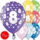 """12""""/30 cm lateksa baloni, 8 dzimšanas diena, assortimenta  dažadas krasas, 15 gab."""