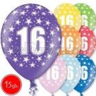 """12""""/30 cm lateksa baloni, 16  dzimšanas diena, assortimenta  dažadas krasas, 15 gab."""