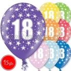 """12""""/30 cm lateksa baloni, 18  dzimšanas diena, assortimenta  dažadas krasas, 15 gab."""