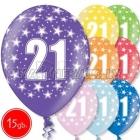"""12""""/30 cm lateksa baloni, 21 dzimšanas diena, assortimenta  dažadas krasas, 15 gab."""