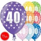 """12""""/30 cm lateksa baloni, 40 dzimšanas diena, assortimenta  dažadas krasas, 15 gab."""