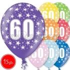 """12""""/30 cm lateksa baloni, 60 dzimšanas diena, assortimenta  dažadas krasas, 15 gab."""