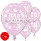 "12""/30 cm lateksa baloni, Its Girl, 15 gab."