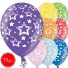 "12""/30 cm lateksa baloni, Zvaigznes, 15 gab."