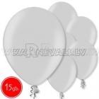"""12""""/30cm lateksa balons, metalliks, sudrabs, 15 gab."""