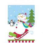 Galdauts ar attēlu  Tēma: dzīvespriecīgs sniegavīrs, plastiks, 137cm x 259cm