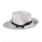 Gangstera cepure,  baltā, ar lenti melnā krāsā