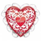 """Folijas hēlija sirds formas balons """"I Love You""""  rozā, ar kruzuli, izmērs 53 cm"""