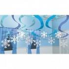 Sniegpārsliņas no folijas ar spirālēm, 60cm, 15 gab. iepakojumā