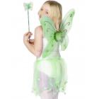 Taureņa spārni ar kociņu, zaļi. Ar ziedu, spīdumiem.