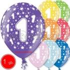 30 cm lateksa balons ar hēliju un hi-float,  dzimšanas diena, assortimenta  dažadas krasas, 1 gab.