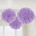 POM PON - zīdpapīra piekaramās dekorācijas, komplektā 3 gab., diam. 41 cm,  lilā krāsā.