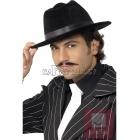Gangstera cepure, melna ar melnu lenti.