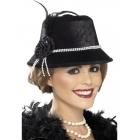 1920 's cepurē, melnā, ar pērlēm un ziediem
