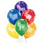 """""""Fermu dzīvnieki"""" 12""""/30 cm lateksa baloni  6 gab. Pastelis: 011 Koši Zaļš, 117 Koši Dzeltens, 007 Oranžs, 101 Sarkans, 153 Koši"""