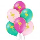 """Flamingo"" 12""/30 cm lateksa baloni  6 gab. Pastelis: 004 Gaiši Rozā, 005 Meža Zaļš, 010 Koši Rozā. Druka: 1 Krāsa(s) / 4 Puses"