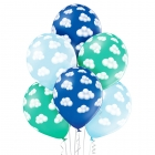 """""""Zilie mākoņi"""" 12""""/30 cm lateksa baloni 6 gab. Pastelis: 003 Gaisi Zils, 005 Meža Zaļš, 022 Koši Zils. Druka: 1 Krāsa(s) / 5 Pus"""