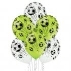 """Futbols"" 12""/30 cm lateksa baloni 6 gab. Pastelis: 002 Balts, 008 Abolu Zaļš. Druka: 1 Krāsa(s) / 5 Puses"