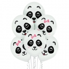 """Pandas"" 12""/30 cm lateksa baloni 6 gab. Pastelis: 002 Balts. Druka: 2 Krāsa(s) / 2 Puses"
