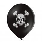 """""""Galvaskauss un kauli"""" 12""""/30 cm lateksa baloni 6 gab. Pastelis: 025 Melns. Druka: 1 Krāsa(s) / 2 Puses"""
