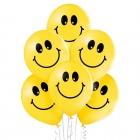 """""""Smaidiņi"""" 12""""/30 cm lateksa baloni 6 gab. Pastelis: 117 Koši Dzeltens. Druka: 1 Krāsa(s) / 2 Puses."""