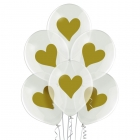 """Zelta sirds"" 12""/30 cm lateksa baloni 6 gab. Caurspīdīgi: 038 Caurspīdīgs Bezkrāsas. Druka: 1 Krāsa(s) / 2 Puses"