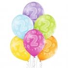 """2.Dzimšanas Diena 12""""/30 cm lateksa baloni  6 gab. Pastelis: 008 Abolu Zaļš, 117 Koši Dzeltens, 007 Oranžs, 010 Koši Rozā, 009"""