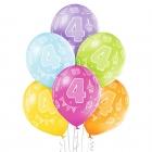 """4.Dzimšanas Diena 12""""/30 cm lateksa baloni  6 gab. Pastelis: 008 Abolu Zaļš, 117 Koši Dzeltens, 007 Oranžs, 010 Koši Rozā, 009"""