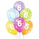 """6.Dzimšanas Diena 12""""/30 cm lateksa baloni  6 gab. Pastelis: 008 Abolu Zaļš, 117 Koši Dzeltens, 007 Oranžs, 010 Koši Rozā, 009"""