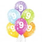 """9.Dzimšanas Diena 12""""/30 cm lateksa baloni  6 gab. Pastelis: 008 Abolu Zaļš, 117 Koši Dzeltens, 007 Oranžs, 010 Koši Rozā, 009"""