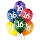 """16.Dzimšanas Diena 12""""/30 cm lateksa baloni 6 gab. Caurspīdīgi:  035 Zaļš, 036 Dzeltens, 037 Oranžs, 131 Koši Sarkans, 023 Koši"""