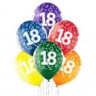 """18.Dzimšanas Diena 12""""/30 cm lateksa baloni 6 gab. Caurspīdīgi:  035 Zaļš, 036 Dzeltens, 037 Oranžs, 131 Koši Sarkans, 023 Koši"""