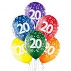 """20.Dzimšanas Diena 12""""/30 cm lateksa baloni 6 gab. Caurspīdīgi:  035 Zaļš, 036 Dzeltens, 037 Oranžs, 131 Koši Sarkans, 023 Koši"""