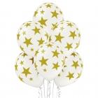 """Zvaigznes"" 12""/30 cm lateksa baloni 6 gab. Pastelis: 002 Balts. Druka: 1 Krāsa(s) / 5 Puses"