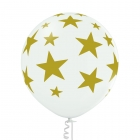 """Zvaigznes"" 1 gab. 24""/60 cm lateksa balons Pastelis: 002 Balts. Druka: 1 Krāsa(s) / 5 Puses"