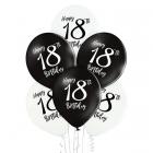 18. dzimšanas diena – 30 cm. baloni 6 gab., pastelis: melns un balts,  apdruka 1 krāsā / 2 pusēs