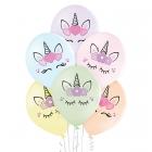 """Vienradži – 30 cm. baloni 6 gab., pastelis: maigas """"makarūnu"""" krāsas,  apdruka 2 krāsās / 2 pusēs"""