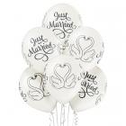 Just Married gulbji – 30 cm. kāzu baloni 6 gab., balts perlamutrs; druka: 1 krāsa(s) / 5 puses