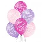 Princese – 30 cm. baloni 6 gab., pastelis: gaiši rozā, gaiši violets, tumši rozā; apdruka 1 krāsā / 5 pusēs.