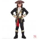 PIRĀTU KAPITĀNS, jaka, krekls, bikses, siksna, zobena atlūza ar sprādzi, cepure, zābaku apvalks 116 cm 4-6 gadi