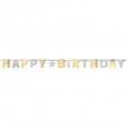 Burtu baneris Happy Birthday zelta un sudraba krāsās, 240 cm