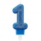 1. dzimšanas dienas tortes svece, zila ar perlamutru, ar svečturi, augstums 7.5 cm