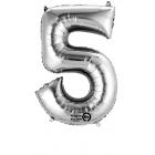 """Ciparu balons """"5"""", sudraba folija, 86 cm, piepūšams ar hēliju vai gaisu"""