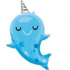 """Folijas hēlija balons """"Narvalis – jūras vienradzis"""", 66cm x 76cm"""