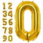 """Ciparu """"0"""" - """"9"""" formas folija balons zelta krāsa, izmērs 86cm"""